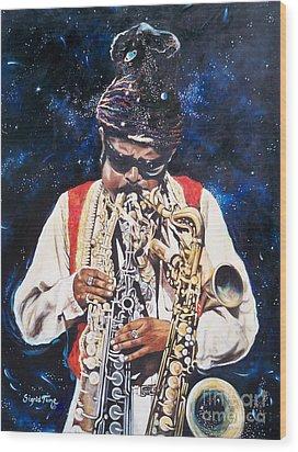 Rahsaan Roland Kirk- Jazz Wood Print by Sigrid Tune