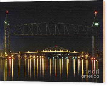 Railroad And Bourne Bridge At Night Cape Cod Wood Print by Matt Suess