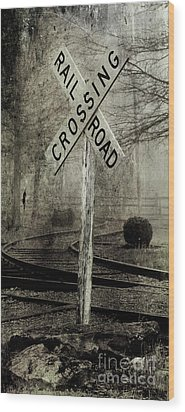 Railroad Crossing Wood Print by Michael Eingle