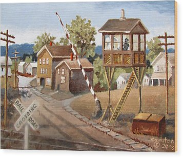 Wood Print featuring the painting Railroad Crossing by Tony Caviston