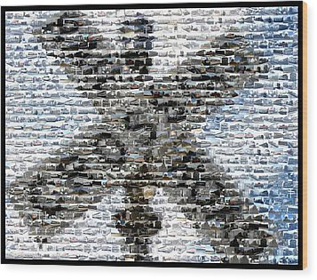 Wood Print featuring the mixed media Railroad Crossing Trains Mosaic by Paul Van Scott
