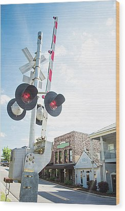 Wood Print featuring the photograph Railroad Lights In Old Town Helena by Parker Cunningham
