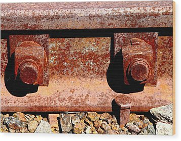 Railroad Track Nuts Bolts Spikes . 7d12683 Wood Print by Wingsdomain Art and Photography