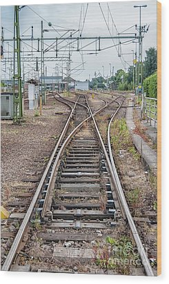 Wood Print featuring the photograph Railroad Tracks And Junctions by Antony McAulay