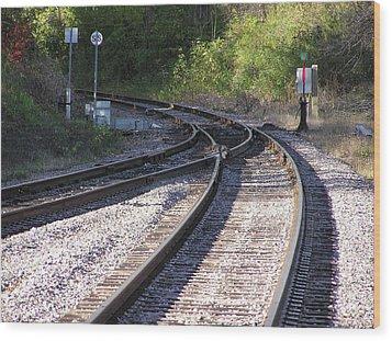 Railroads Merging Wood Print by Richard Mitchell