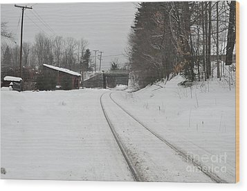 Wood Print featuring the photograph Rails In Snow by John Black
