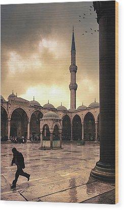 Rain At The Blue Mosque Wood Print by Marji Lang