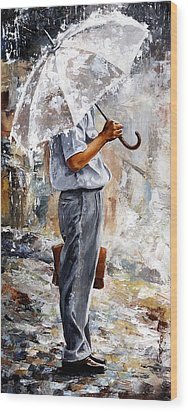 Rain Day - The Office Man Wood Print by Emerico Imre Toth