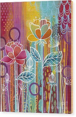 Wood Print featuring the painting Raindrops  by Carla Bank