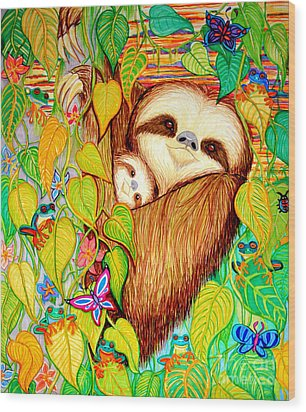 Rain Forest Survival Mother And Baby Three Toed Sloth Wood Print by Nick Gustafson