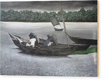 Rain In Bangladesh- An Acrylic Painting Wood Print by Fahad Hossain