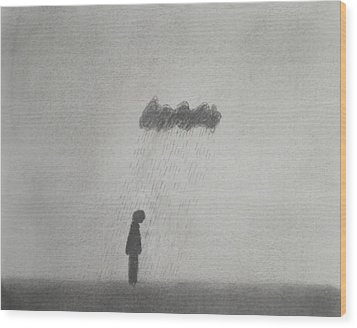 Rain Wood Print by Keith Straley