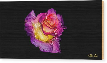 Rain-melted Rose Wood Print by Rikk Flohr