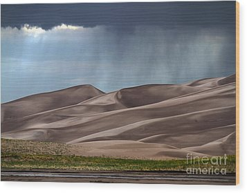 Rain On The Great Sand Dunes Wood Print by Catherine Sherman