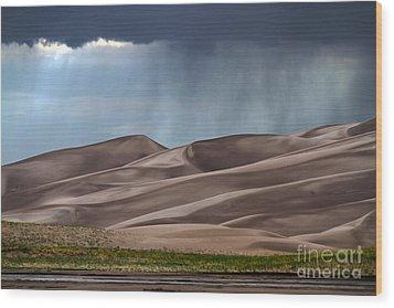 Rain On The Great Sand Dunes Wood Print