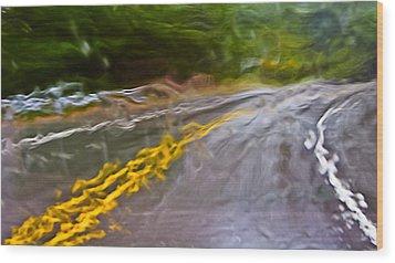Rain On The Windshield Motion Blur And Rain Blur Wood Print by Ed Book