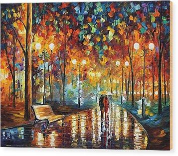 Rain Rustle Wood Print by Leonid Afremov