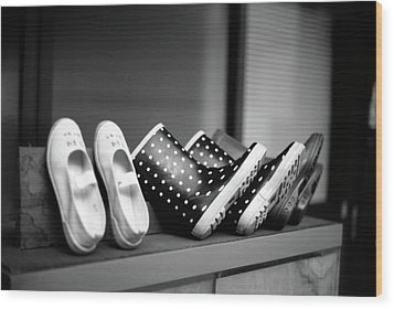 Rain Shoes Wood Print by Snap Shooter jp
