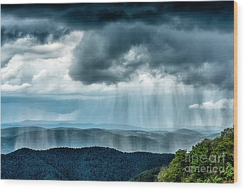 Wood Print featuring the photograph Rain Shower Staunton Parkersburg Turnpike by Thomas R Fletcher