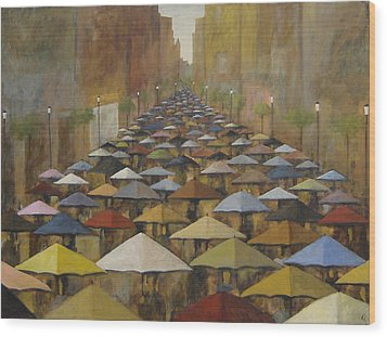 Wood Print featuring the painting Rain Street by Glenn Quist