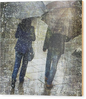 Wood Print featuring the photograph Rain Through The Fountain by LemonArt Photography