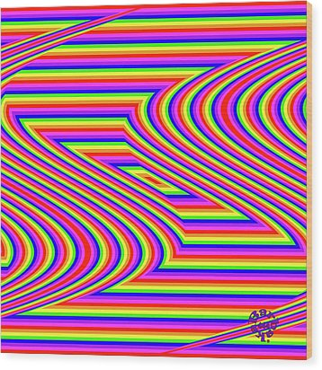 Wood Print featuring the digital art Rainbow #5 by Barbara Tristan