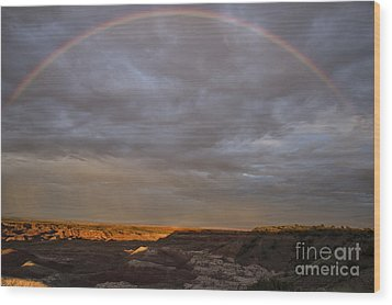 Wood Print featuring the photograph Rainbow At Sunset by Melany Sarafis
