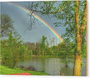 Rainbow At The Lake Wood Print by Sumoflam Photography