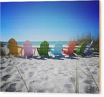 Rainbow Beach Vanilla Pop Wood Print by Chris Andruskiewicz