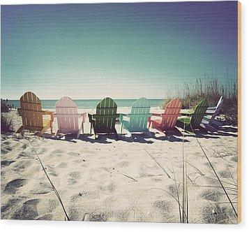 Rainbow Beach-vintage Wood Print by Chris Andruskiewicz