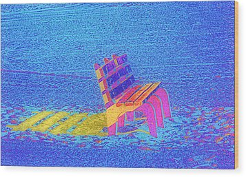 Rainbow Bench Wood Print by Rose  Hill