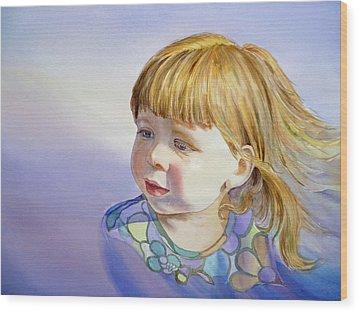 Rainbow Breeze Girl Portrait Wood Print by Irina Sztukowski