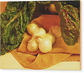 Rainbow Chard And Pearl Onions Wood Print by Jamey Balester