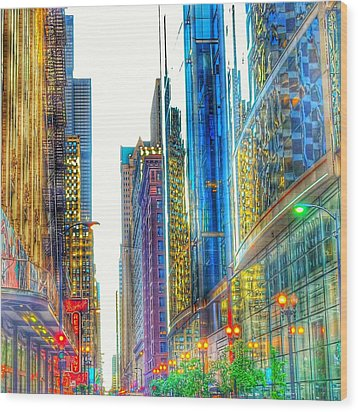 Wood Print featuring the photograph Rainbow Cityscape by Marianne Dow