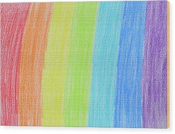 Rainbow Crayon Drawing Wood Print by GoodMood Art
