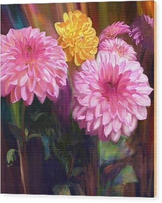 Rainbow Dahlias Wood Print