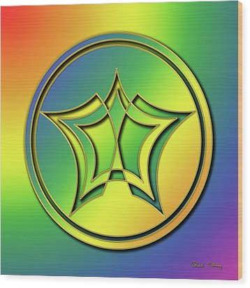 Wood Print featuring the digital art Rainbow Design 1 by Chuck Staley