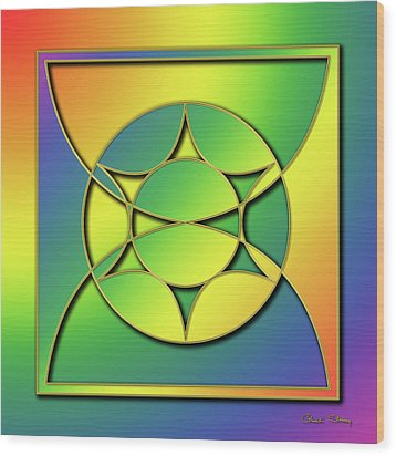 Wood Print featuring the digital art Rainbow Design 3 by Chuck Staley