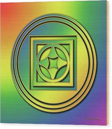 Wood Print featuring the digital art Rainbow Design 4 by Chuck Staley
