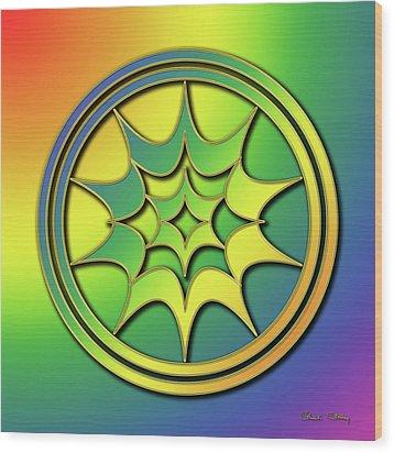 Wood Print featuring the digital art Rainbow Design 5 by Chuck Staley