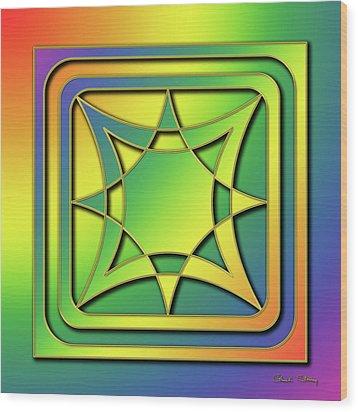 Wood Print featuring the digital art Rainbow Design 6 by Chuck Staley