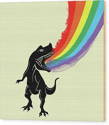Rainbow Dinosaur Wood Print by Mark Ashkenazi