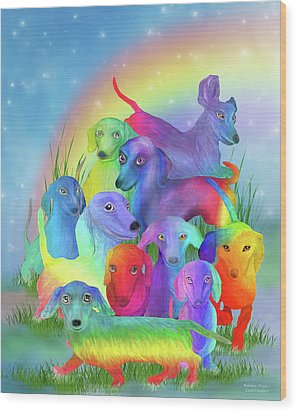 Wood Print featuring the mixed media Rainbow Doxies 1 by Carol Cavalaris