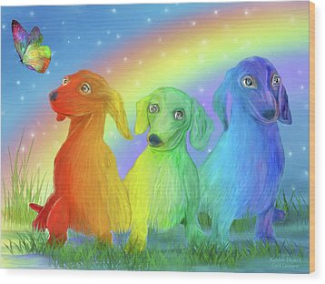 Wood Print featuring the mixed media Rainbow Doxies 2 by Carol Cavalaris