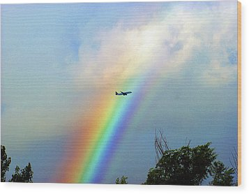 Rainbow Flight Over Denver Colorado Wood Print