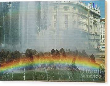 Wood Print featuring the photograph Rainbow Fountain In Vienna by Mariola Bitner