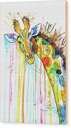 Wood Print featuring the painting Rainbow Giraffe by Zaira Dzhaubaeva