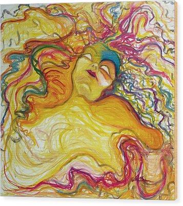 Rainbow Goddess Wood Print by Erika Brown