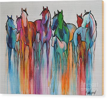 Wood Print featuring the painting Rainbow Horses by Cher Devereaux