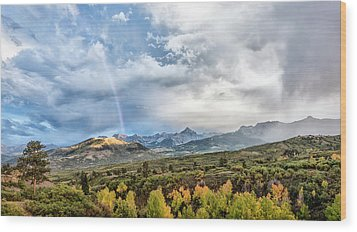 Wood Print featuring the photograph Rainbow In The San Juan Mountains by Jon Glaser